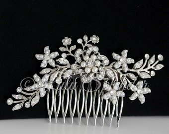 Wedding Hair Comb Swarovski Rhinestone Pearl Bridal Hair comb Vintage Wedding Comb Ivory Pearl Flower Headpiece SABINE 2 HAIR PIECE