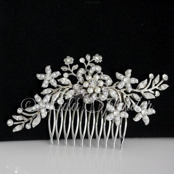 Wedding Hair Comb Swarovski Rhinestone Pearl Bridal Hair comb Vintage Wedding Comb Ivory Pearl Flower Headpiece SABINE 2 HAIR PIECE