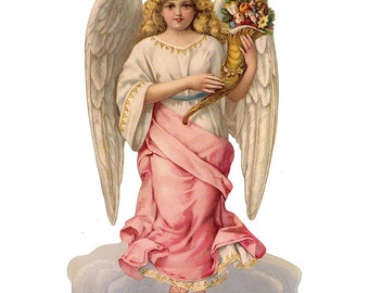 Large Scrap Of Pink Victorian Christmas Angel Made In Germany  5170