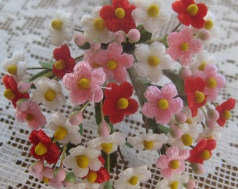 Czech Republic Velvet Forget Me Nots Millinery Fabric Flowers Red Pink And Ivory Mix