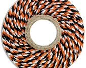 Chunky Orange and Black Bakers Twine - 100 yards of orange and black stripe thick twine