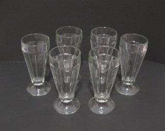 Vintage Soda Fountain Parfait Ice Cream Soda Glasses Set of Six