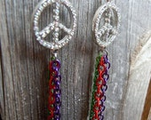 Peace Sign with Rhinestone Earrings and MultiColor Chain Dangles