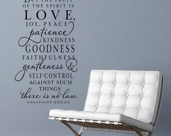 The fruit of the Spirit Extended - Vinyl Wall Decal scripture lettering art design word sticker