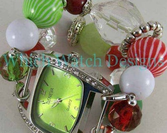 SALE Holly Jolly.. Whimsical Christmas Watch Band, Red, Green, White, Clear Interchangeable Beaded Band