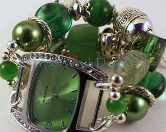 Shabby Chic Emerald Isle.. Emerald Green and Silver Plated Interchangeable Beaded Watch Band