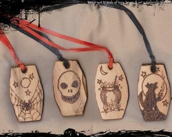 Halloween Samhain Gift Tag Set  Ornaments Cedar Woodburned Rustic Prim