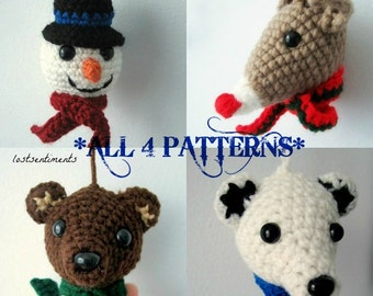 Set of Four Christmas Ornament PATTERNS - Snowman, Rudolph, Brown Bear, Polar Bear Amigurumi - Babysafe, Unbreakable - by lostsentiments