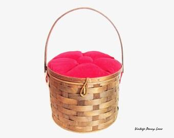 Vintage Sewing Basket Box, Wood Weave