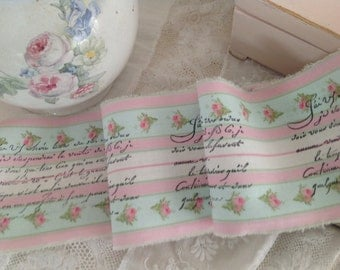 2015 SPRING FRENCH COLLECTION - Pink Rose Ticking Trim  -  French Script Sentiment - Hand Stamped Fabric