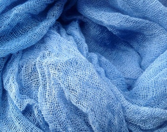 Hand Dyed Scrim Cheese Cloth robins Egg Blue