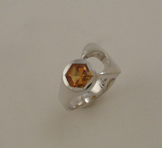 large sterling silver wrench ring with hex cut citrine