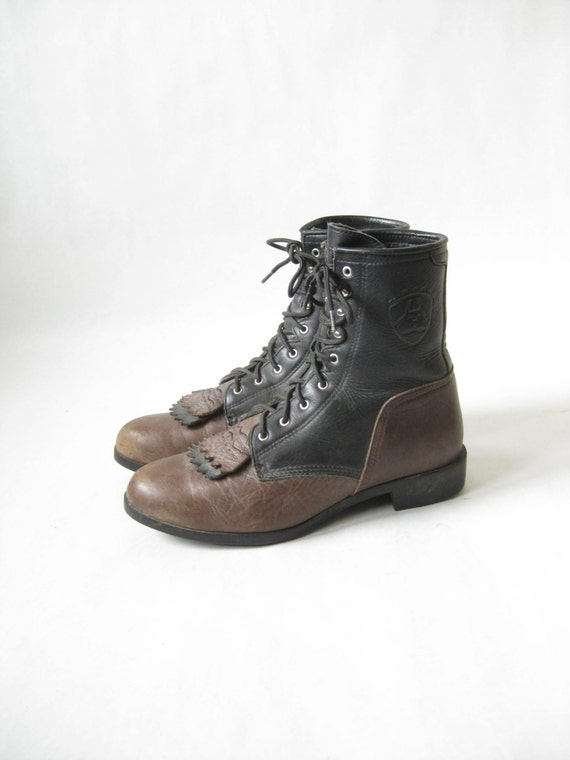 Vintage Two Tone Ariat Lace Up Roper Boots Size 9 Mens 10