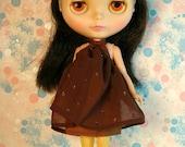 Chocolate Brown Mod Blythe Doll Floaty Dress (Tent/Trapeze/GoGo/Groovy/1960s)