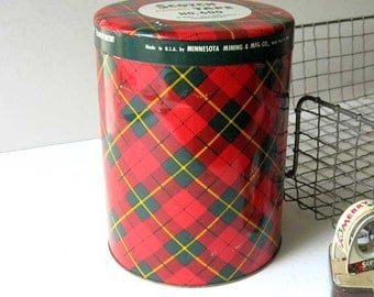 Vintage 1950 Large 12 Roll Size Scotch  Tape Red Green Plaid Advertising Tin, 3M Co, Vintage Office Tin