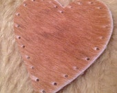 """Brown Heart Cowhide Leather Patch 3"""""""