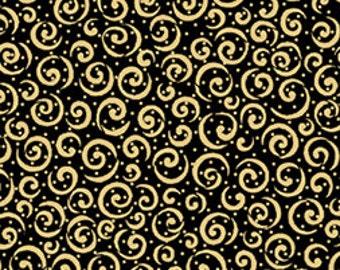 Spirals Gold Black Metals Quilting Treasures Fabric 1 yard