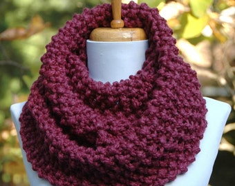 Chunky Scarf, Knit Scarf, Purple Fig Scarf, Infinity Scarf, Women Scarves, Circle Scarf, Winter Scarf, Knitted Neck warmer, Hand Knit Scarf
