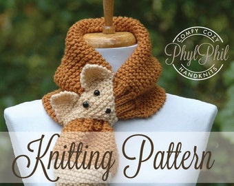 KNITTING PATTERN - Fox Scarf - PDF Pattern Intermediate