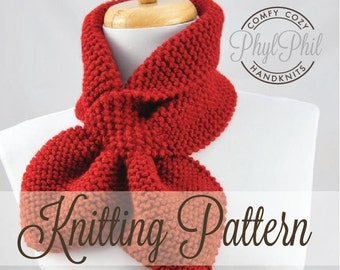 KNITTING PATTERN - Stay Put Scarf II - Pull Through Keyhole Scarf Instant Download