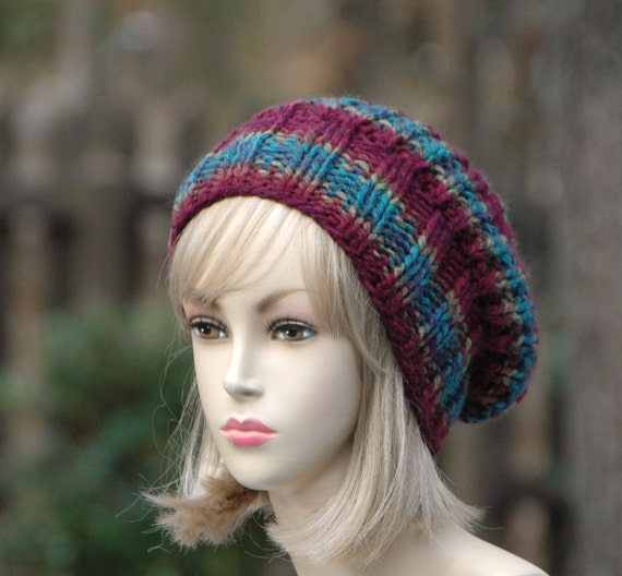 Knit Slouchy Hat, Knitted Slouchy Beanie, burgundy Slouchy Hat, Chunky Knit Hat, Hand Knit Women's, Hat,  Winter Hat, Reversible Knitted Hat