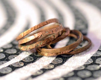 Penny Ring, Handmade Copper Coin Jewelry, Stacking Band Rings, Single or Stackable, Textured or Smooth, Lucky Penny, One Piece, Size 6 to 8