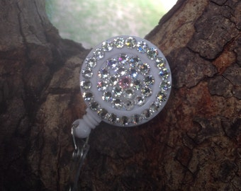Badge reel decorated with Swarovski crystals!