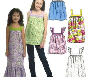 Child's Dress Pattern 2010 McCall's Sewing Children's Top Shoulder Straps Uncut Girl's Size 7 to 16