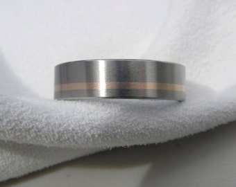 Wedding Band or Ring, Titanium with Rose Gold Inlay, Satin Finish