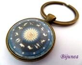 Zodiac  keychain - Zodiac keychain - Blue sign zodiac keychain - Zodiac keychain k245