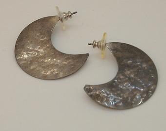 Vintage Hammered Silver Earrings Half Moons