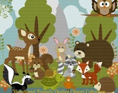 Woodland Animal Friends Series 1 Digital Clipart, clip art collection