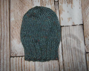hand knit baby hat  - size 6 - 12 months - blue tweed