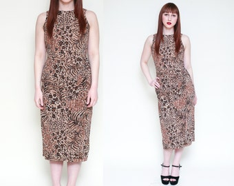 Vintage Leopard Print Midi Wrap Asymmetrical Dress // TIKI ANIMAL PRINT Wiggle Pinup Dress - Size Small