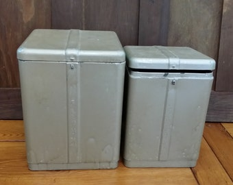 Set of 2 Vintage Metal Kitchen Canisters Flour Sugar Great Storage Organization Upcycle Repurpose