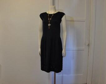 20s dress / Midnight Blues Vintage 1920's Deco Beaded Dress
