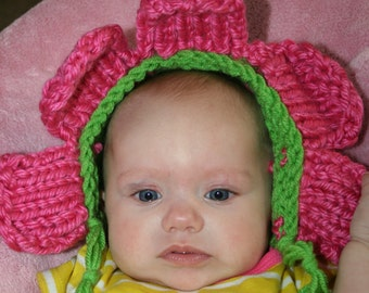 Sale-Ready to Ship- Pink Petal hat-3- 6 month photo prop