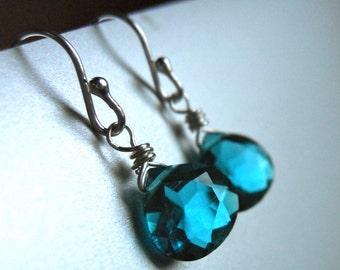 Paraiba Blue Earrings, Teeny Paraiba Blue Earrings - Sterling or Gold Available, small teal earrings, gemstone earrings