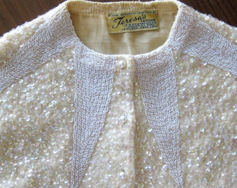 1950s Beaded Wool Sweater -  Starburst Pattern - Iridescent Ombre Effect - Lined - Hand Beaded