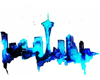 Seattle  Print of  Watercolor Illustration