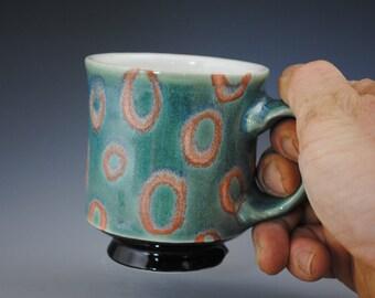 Green Mug with Orange Circles