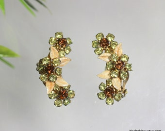 1930s Flower & Leaf Earrings, Vintage Rhinestone Jewelry, Gifts for Women