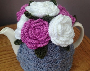 Tea Cosy Tea Cozy Teacosy Teacozy Cosy Cozy Crochet Grey with Pink and White Roses (Made to order)