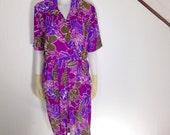 Vintage 80s 90s LESLIE FAY Purple Tropical Floral Dress / Sz 12