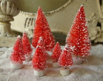 Bottle brush trees flocked red trees Christmas craft supplies vintage style village supplies red mini trees holiday crafting supply