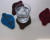 Felted Coaster Leaf Design Green Brown Red and Blue