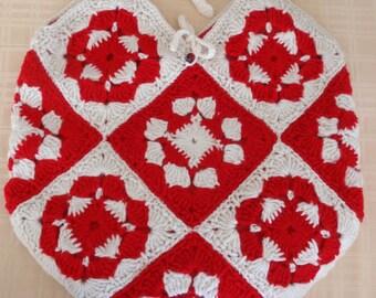 Crochet Granny Square Tote in Red and White
