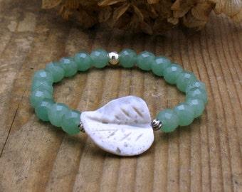 Green Aventurine Boho Beaded Bracelet, White Agate Leaf Focal, For Her Under 50, Graduation, Mothers Day