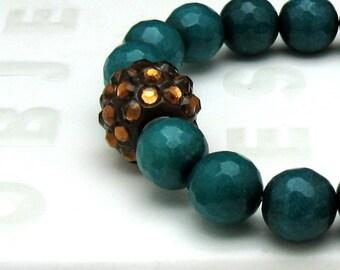 Teal Jade Modern Boho Beaded Bracelet, Amber Rhinestone Focal Stretch Bracelet, for Her Under 75, One of a Kind, US Free Shipping