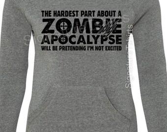 Zombie Apocalypse Sweatshirt - Girly Pullover - Halloween Off Shoulder - Womens Sweater-  Sport Fleece Sweatshirt - Off Shoulder Sweatshirt